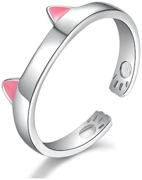 Silver Plated Elegant Kitty Cat Adjustable Ring for Women