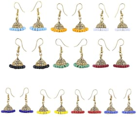 Silver Shine Gold Plated Traditional Jhumki Combo Set For Girls Women