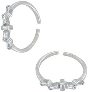 Silver  Shine 925 Sterling Silver Five Small Diamond Toe Ring