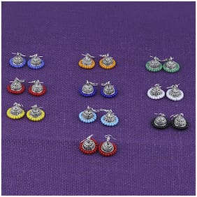 Silver Shine Silver Plated Traditional Jhumki Combo Set For Girls Women