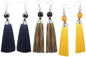 Silver shine Partywear Nevy Blue, Multi and Yellow Colour Tassel Earrings combo set Set Pair of 3 for Girls and Women Jewellery