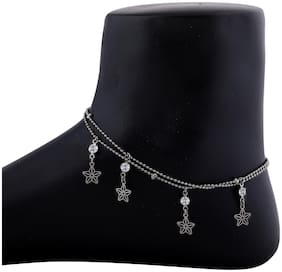 SILVER SHINE Adjustable Double line Delicated Anklet For women Girl