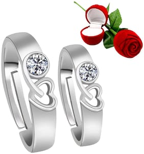 Silver Shine Silver Plated Adjustable Couple Ring with Red Rose Gift Box for Men and Women