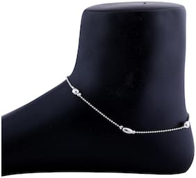 SILVER SHINE Charm Anklet Silver Plated For Women Girl