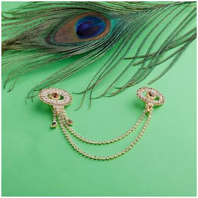 SILVER SHINE American Diamond Alloy Party Broaches  For Women