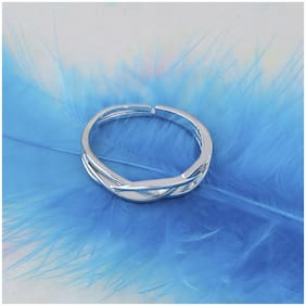 Silver Shine Silver Plated Stylish Solitaire Adjustable Ring For Women Girls