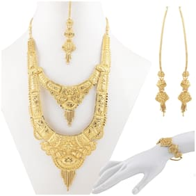 SILVER SHINE Gold Plated Adjustable Traditional Jewellery Long Set For women girl