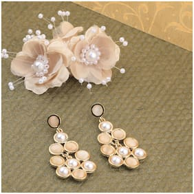 SILVER SHINE Atrractive Delicated Patry Wear Pearl Dangle Earring For Women and Girl