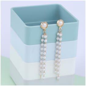SILVER SHINE Party Wear Stylish Pearl hanging Drop Earring For Women Girl