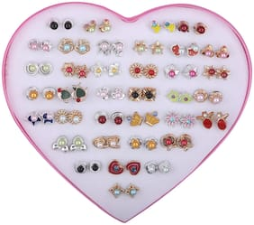 Silver Shine Colourful Earring set of 36 For women