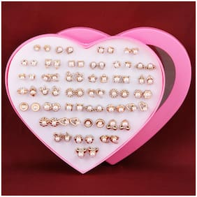 Silver Shine Gold Set of 36 Earrings For Women