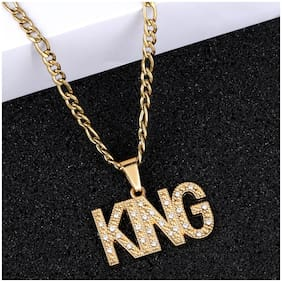 SILVER SHINE Gold Plated Daimond KING Sign Pendent Chain For Man And Boy