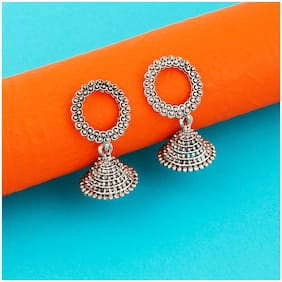 Silver Shine Oxidised Wedding Traditional Earring For Women Girl
