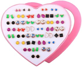 Silver Shine Fascinating funky look Multicolored Set of 36 Earrings for Women.