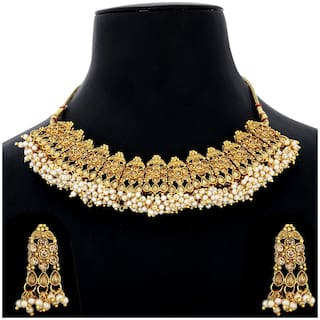 Buy Silver Shine Traditional Gold Plated Antique Kundan Stone