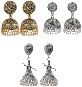 Silver Shine Party Wear Traditional Designer Jumkhi Earrings combo set Set Pair Of 3 for Girls and Women Jewellery