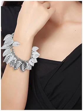 Silver Shiny Leaf Women Bracelet