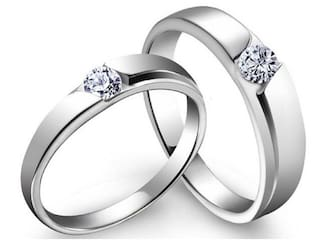 2d5a01b8fc SILVERISH Love Forever Matching Ring For Him And Her Alloy Cubic Zirconia  Rhodium Plated Ring Set