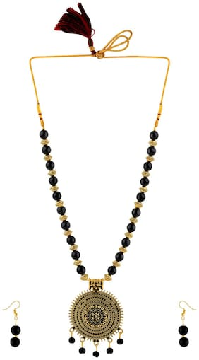 SILVERSHINE Alegant Stylish Gold Oxidised Necklace Black Pearl mala set for Women girl