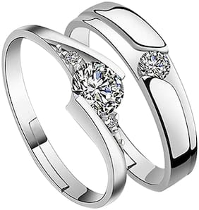 SILVERSHINE silverplated Gorgeous diamond  His and Her Adjustable proposal Diamond couple ring For Men And Women Jewellery