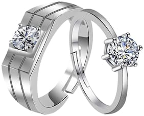 SILVERSHINE, Exclusive silver plated simple and gorgeous one diamond adjustable couple ring for men and women.