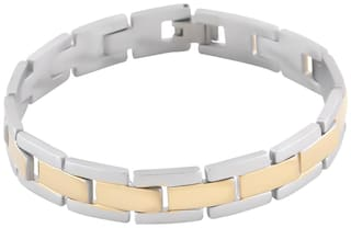 SILVERSHINE Silverplated Dual Colour Stylist Designer 3 Line Chain Bracelet For Men and Boy Jewellery