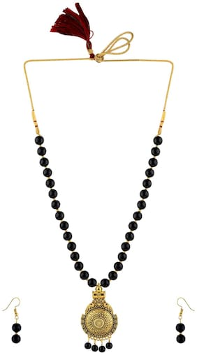 SILVERSHINE Party Wear Designer Gold Oxidised Necklace Black Pearl mala set for Women girl