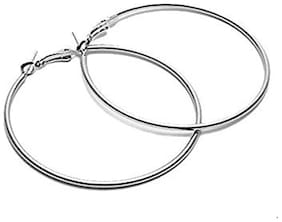 Singnara Silver 70MM  Rhodium Polish, Big Hoop Earrings for Women