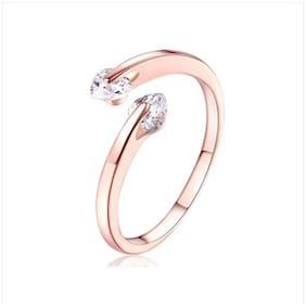 Sizzling Attractive Swarovski Dual Zircon Adjustable Ring For Women & Girls (Rosegold)
