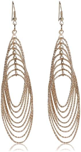 Skylofts Fashion Oval Gold Plated Dangler Earrings Ruffles Fancy Party Wear For Girls And Women
