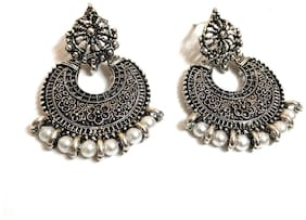 Small Silver Oxidized Silver Oxidised Silver Pearl Fashion Stud Earring