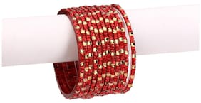 Somil 12 Firing Red Glass Bangle Party Set Fully Ornamented With Colorful Beads & Crystal With Safety Box-EI_2.4