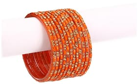 Somil 12 Orange Glass Bangle Party Set Fully Ornamented With Colorful Beads & Crystal With Safety Box-EG_2.4