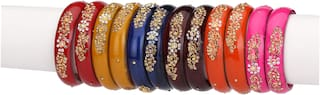 Somil Colorful Glass Bangle Kada Set Ornamented With Colorful Beads & Stones For Trandy Designer Set Of Twelve With Safety Box