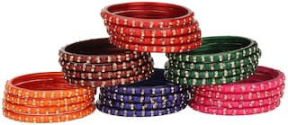 Somil Glass Bangle Cum Kada Ornamented With Colorful Chips Set Of Six Matching And Trendy Color(Four Piece Each Color)-Tf25