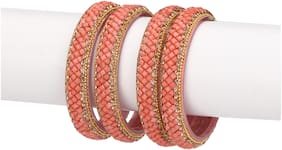 Somil Party Glass Bangle Set Ornamented With Beads For Spaical Look (Pack Of 4 Bridge Shining & Attractive