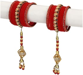 Somil Traditional Party Bangle Set With Latkan;Party Bridal Collaction NE31