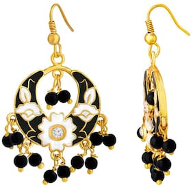 Spargz Circule Gold Plated Officewear Black Meenakari Chandbali Hook Earrings For Women AIER 1062