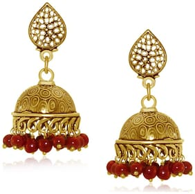 Spargz Party Wear Gold Plating Maroon Beads Jhumka Earring For Women AIER 653