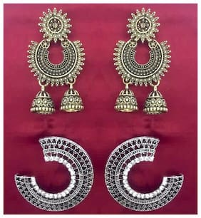 SparkEve combo pack of Ethnic Trendy oxidized Gold and Silver Earrings