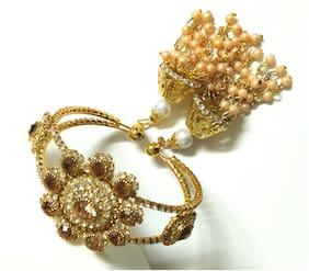 SparkEve oxidized Gold Kada with Double Jhumki