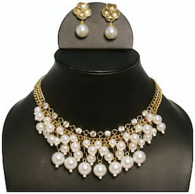 Statement faux pearl Golden Necklace set (Set Of 5)