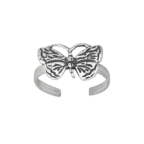 Sterling Silver .925 Butterfly Toe Ring adjustable size Oxidized | Made In USA