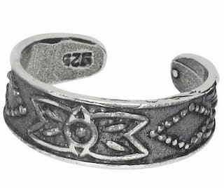 Sterling Silver .925 Flower Design Toe Ring Adjustable Size Oxidized Made In USA