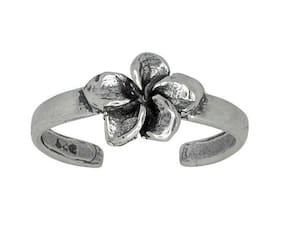Sterling Silver Flower Design Oxidized Toe Ring adjustable size | Made In USA