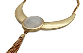 Classy Golden Statement Choker Necklace with Moonstone