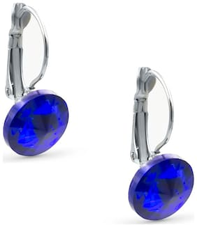 Three Shades Stylish Dazzling Earring for Girls & Women in Blue Studded Stone