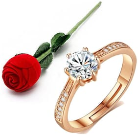 Stylish Teens Super Elegant Rosegold Plated Engagement Adjustable Ring For Women & Girls With Rose Box Packing