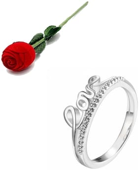 Stylish Teens Sizzling Love Valentine Zircon Adjustable Ring For Women & Girls With Rose Box Packing
