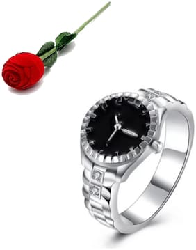 Stylish Teens Beautiful Watch Like Design Ring For Women & Girls (6) With Rose Box Packing